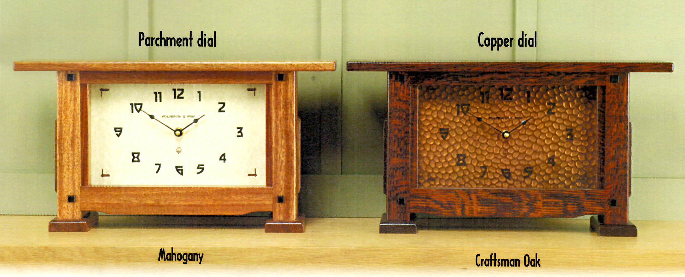 Arts and crafts mantle clock - Many Of The Clocks Listed Below Come In The Finishes Listed Above With Either The Copper Dial Or Parchment Dial Shown Below