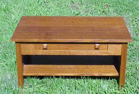Coffee Table The Coffee Table Also Has A Single Drawer A Full Width Shelf And Slats On The Ends The Drawer Has Two Pyramid Wood Pulls